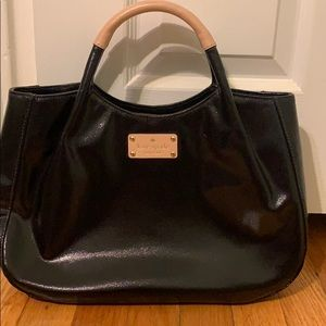 KATE SPADE black purse, vinyl with leather trim